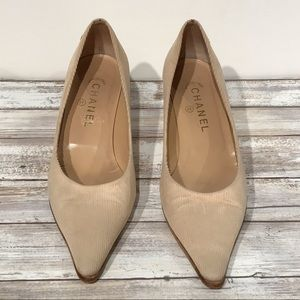CHANEL - Camel Corduroy Pointed Toe Heels -  38.5